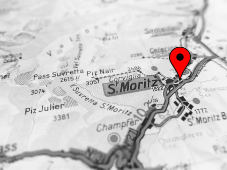St Moritz City Over A Road Map SWISS Stock Photo Picture And