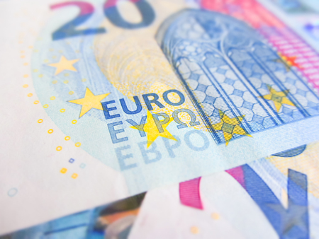 focus on twenty euro banknote Stock Photo
