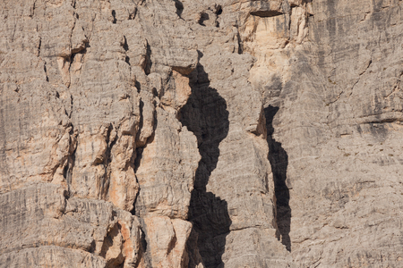 Detail of vertical Dolomites wall in Italy