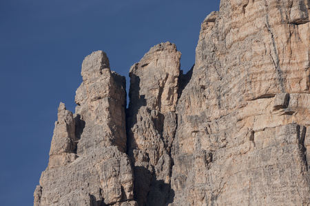 stratification: Detail of vertical Dolomites wall in Italy