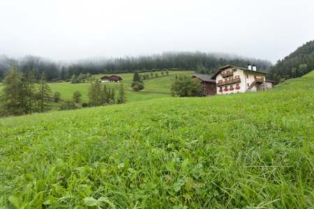ST. MAGDALENA, ITALY - SEPTEMBER 14, 2015: Traditional houses in a cloudy mornig surrounded by green pasture next to the little town of St. Magdalena in Val di Funes, no people around Editorial