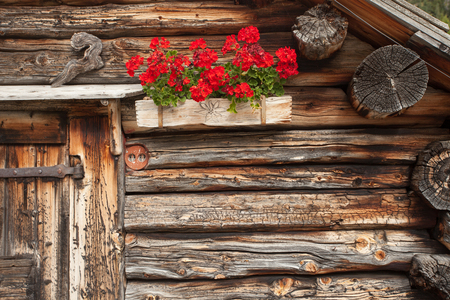 Detail of a traditional old balcony  with red geraniums from an old house in St. Magdalena in Val di Funes