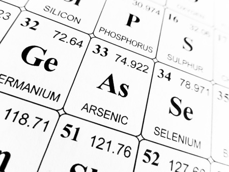 Arsenic on the periodic table of the elements Stock Photo