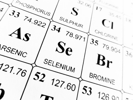 Selenium on the periodic table of the elements Stock Photo