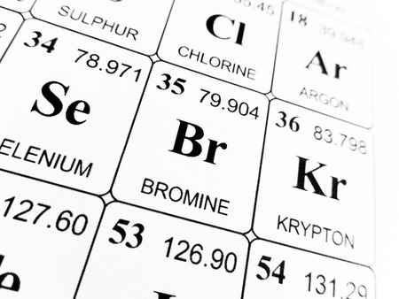Bromine On The Periodic Table Of The Elements Stock Photo Picture