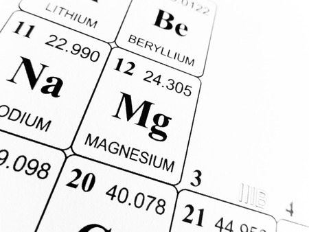 Magnesium on the periodic table of the elements Stok Fotoğraf