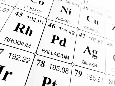 palladium on the periodic table of the elements Stock Photo