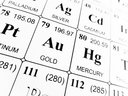 Gold On The Periodic Table Of The Elements Stock Photo Picture And