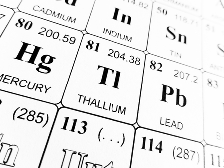 Thallium On The Periodic Table Of The Elements Stock Photo Picture