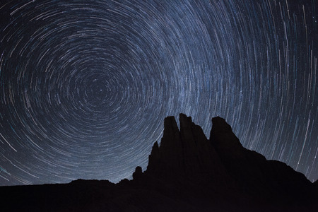 Startrail over the Vajolet towers in Dolomites