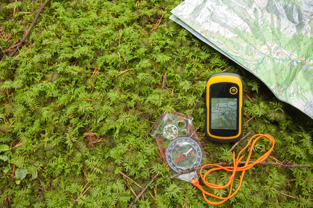 finding the right position in the forest with a compass, map  and GPS
