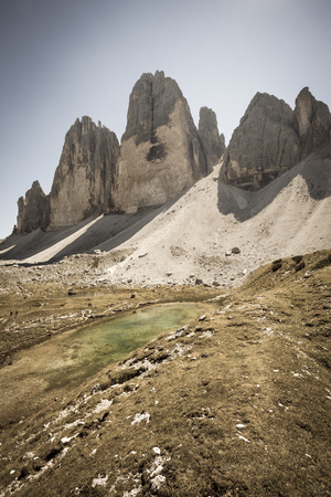 Tre Cime di Lavaredo and its environment in a summer day