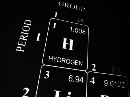 Hydrogène dans le tableau périodique des éléments Banque d'images