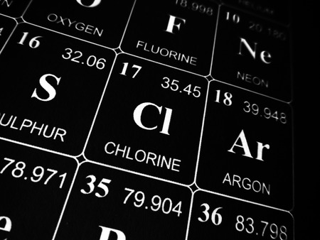 Chlorine on the periodic table of the elements