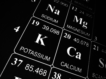 Potassium on the periodic table of the elements Stock Photo - 124381471