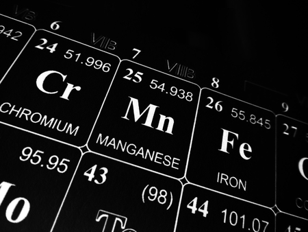 Manganese on the periodic table of the elements Stock Photo