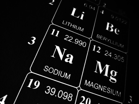 Sodium on the periodic table of the elements