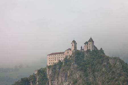 The monastery of Sabiona stands on a high cliff over the village of Chiusa in the Val dIsarco