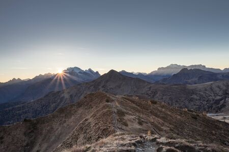 Sunset over the Passo Giau area in the Italian Dolomites