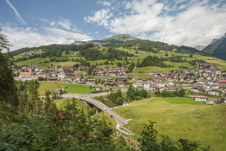 Small Italian little town of St. Cristina in Val Gardena in its wonderful natural environment