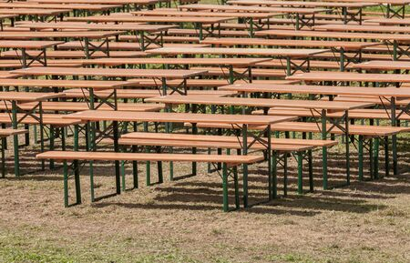benches and tables some days before the great local festival Stok Fotoğraf