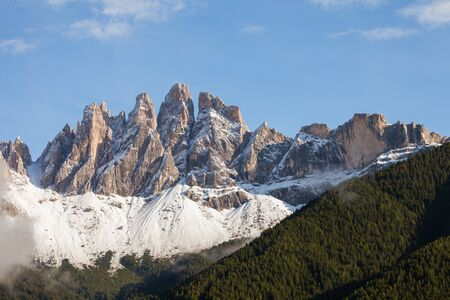 view on the Odle mount in Val di Funes, Dolomites after an autumnal storm Stock fotó