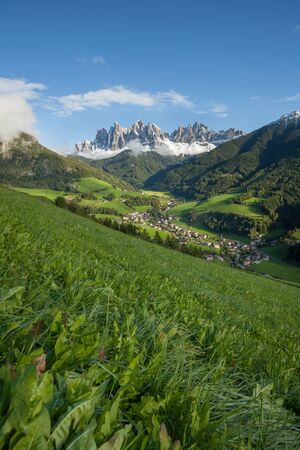 View from the small Italian mountain town of St. Magdalena in Val di Funes