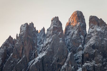 view on the Odle mount in Val di Funes, Dolomites at sunrise after an autumnal storm