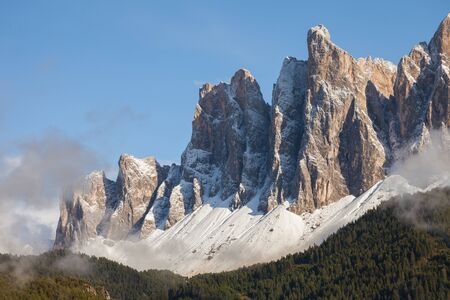 view on the Odle mount in Val di Funes, Dolomites after an autumnal storm
