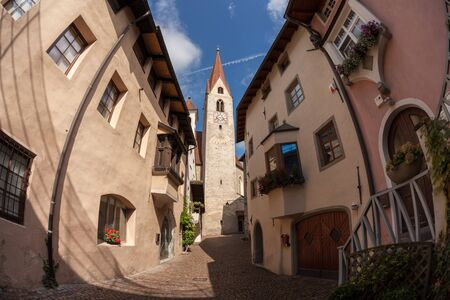 view from the historical center of the Italian little town of Chiusa in South Tirol