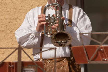 Musician in typical costume during an autumn local celebration in Val Isarco ( South Tyrol ) Banco de Imagens