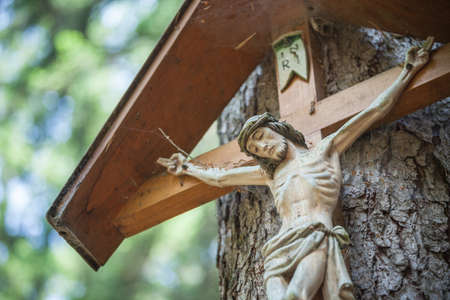 traditional wooden scupture for a crucifix