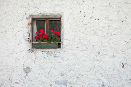 traditional balcony from an old house in St. Magdalena in Val di Funes Stock Photo