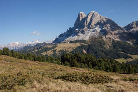 Wide view on the Sass de Putia group in the Italian Dolomites area