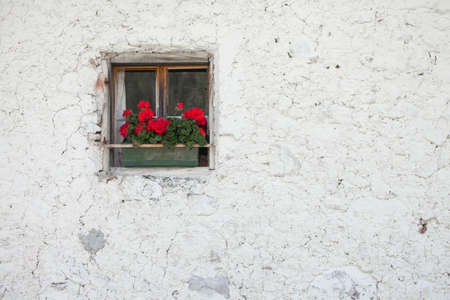 traditional balcony from an old house in St. Magdalena in Val di Funes Banco de Imagens