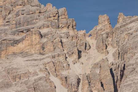 Detail of vertical Dolomites wall in Italy (Tofana di Mezzo) Banco de Imagens