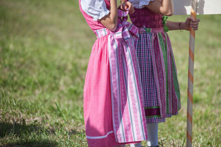 Young children in typical costume during an autumn local celebration in Val Isarco (South Tirol)
