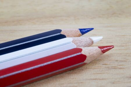 French flag made with colored pencils. Concept studio shot regarding school system in France.