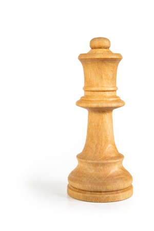 White queen - Wooden chess piece isolated on white background. Picture taken in studio with lightbox.