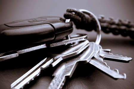 Bunch of keys - Close-up picture of some house and car keys on the table