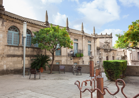 spanish houses: Barcelona, Spain - January 13, 2016: Spanish town (Poble Espanyol) - architectural museum under the open sky. The museum features exhibits on contemporary art, with streets, houses, parks, theater, school, restaurants and artisan workshops.