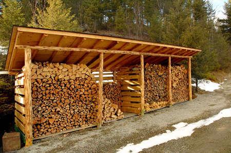 屋外木材を格納するために流す 写真素材