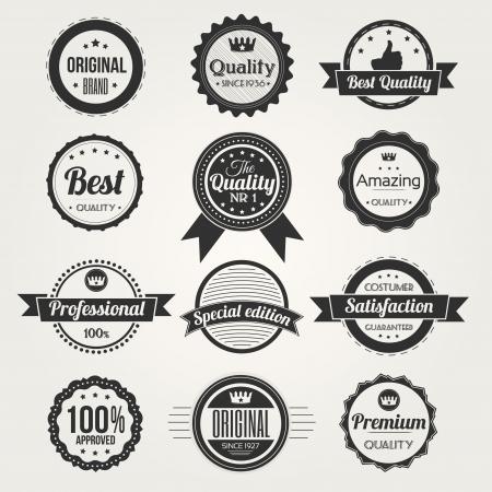 Colección de etiquetas de calidad premium retro