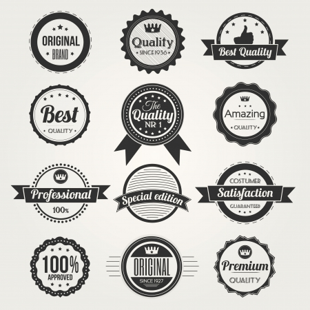 Collection of Retro Premium Quality Labels Illustration