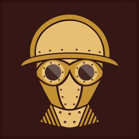 gas mask: Steampunk   Vintage Character Design   With Goggles