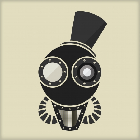 steam iron: Steampunk   Vintage Character Design   With Goggles