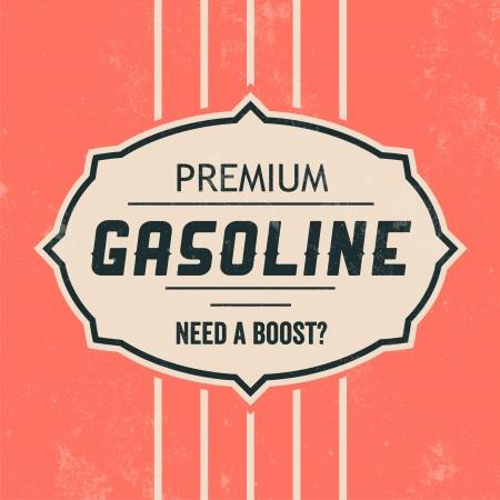 gasolinera: Entrar Gasolina Plantilla Retro Vintage