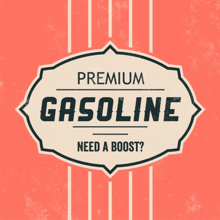 petrol station: Vintage Gasoline Sign   Retro Template Illustration