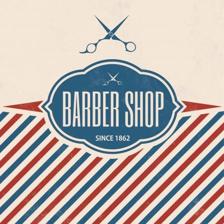 парикмахер: Ретро Парикмахерская Vintage шаблона Иллюстрация