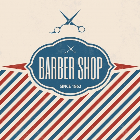 scissors: Retro Barber Shop Vintage Template